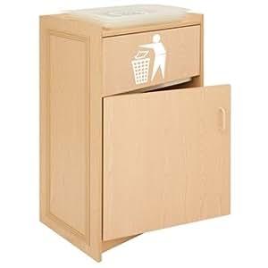 Cubo de basura para recoger/soporte para bandejas color: madera de fresno