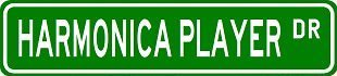 (HARMONICA PLAYER Street Sign ~ Custom Sticker Decal Wall Window Door Art Vinyl Street Signs - 8.25