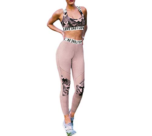 (Hotexy Women's Workout Sets 2 Pieces Suits High Waisted Yoga Leggings with Stretch Sports Bra Gym Clothes)