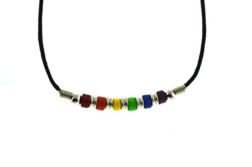 Bottom Beaded Rainbow Pride Necklace. LGBT Lesbian and Gay Pride Necklace. Rainbow Pride Jewelry is Great for the Gay parade or as Gay Gift -