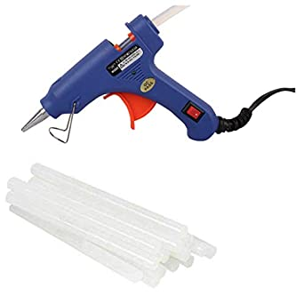 Wadro (SUPER/4K) 40W 40WATT Mini HOT MELT GLUE GUN (ON OFFSwitch & LED Indicator) With 10 Long Glue Sticks(7mm) (Blue)