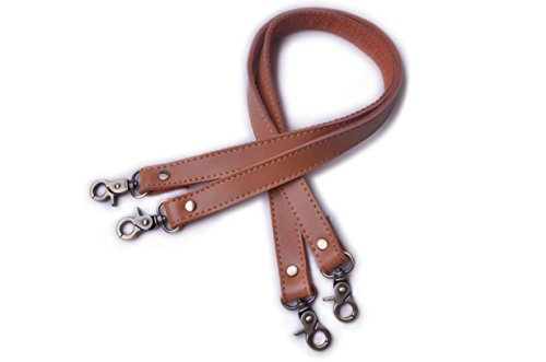 Wento Pair 24'' Camel Genuine Leather Purses Straps,Lobster Hook inner size 0.3'',Real Leather Sewing Canvas backing Bag Handles,replacement Purse Straps,handbag Bag Wallet Straps WT0301 (Camel)