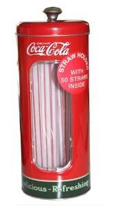 3 Pk, Coca-cola Tin Collectible Drinking Straw Holder Dispenser With 50 Straws