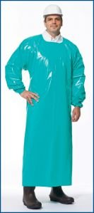 VR Protective Wear Vinyl Replacement Coverback Gown w/elastic-cuffs 4 mil green X-large X-long 55 inch length, (Pack of 50) PolyConversions, Inc. 42986 by VR Protective Wear (Image #1)