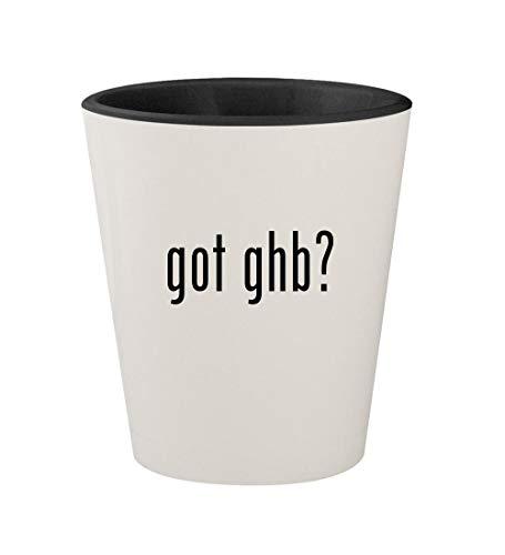 got ghb? - Ceramic White Outer & Black Inner 1.5oz Shot - Iron Flat Ghb