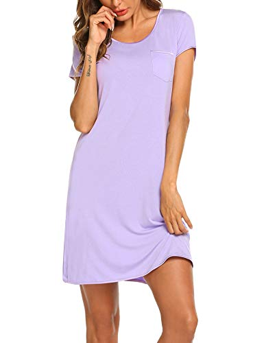 - Ekouaer Women's Short Sleeve V-Neck Nightgown Soft Sleeping Shirts Loungewear Nightshirts (Lilac M)