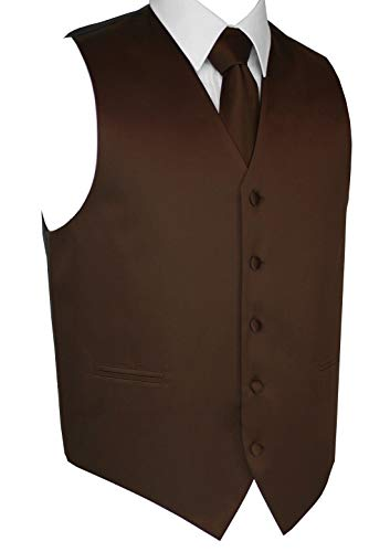 Brand Q Italian Design, Men's Tuxedo Vest, Tie & Hankie Set - Chocolate - 6XL