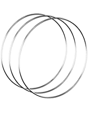 Worown 3pcs 14 Inch Floral Wreath Hoops, Silver Metal Rings for Making Wedding Wreath Decor and Wall Hanging Craft