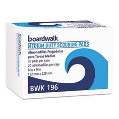 PAD 196 Medium Duty Scour Pad, Green, 6 x 9, 20/Carton ()