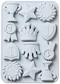 ARMAC 12 Cavities Crown Moulds Trophy Soap Silicone Cake Mould DIY Ice Tray Muffin Cookie Cake Pan Chocolate Candy Baking Supplies for Kids