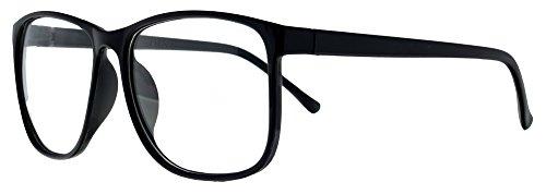 Retro Nerd Brille Klar - Die neue Kollektion (Schwarz-Groß)