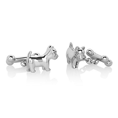 Crucible Jewelry Mens High Polished Silver Tone Dog and Bone Cuff Links, White, One Size - Jade Set Cufflinks