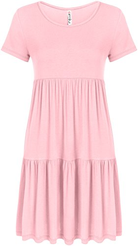 (Casual Tiered T Shirt Dresses for Women Reg and Plus Size Summer Sundress - USA Baby Pink Small, Baby Pink, Small)