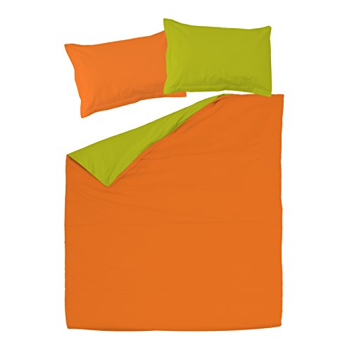 Orange & Green - SoulBedroom 100% Cotton Double-sided Reversible Bed Set (Duvet Cover 102\