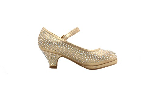 Forever Dana-53K Little Girl Kids Mid Heel Mary Jane Rhinestone Pretty Sandal Dress Pumps Dancing Shoes (11, Gold) (Children Dress Shoes compare prices)