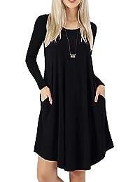 Women's Long Sleeves Pockets Loose Swing Casual Dresses