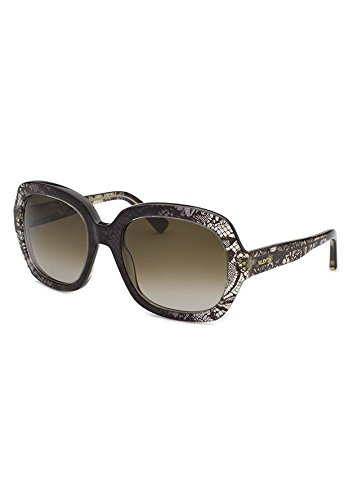 (Valentino Sunglasses VAL 678S Sunglasses 032 Black and grey with lace 55mm)