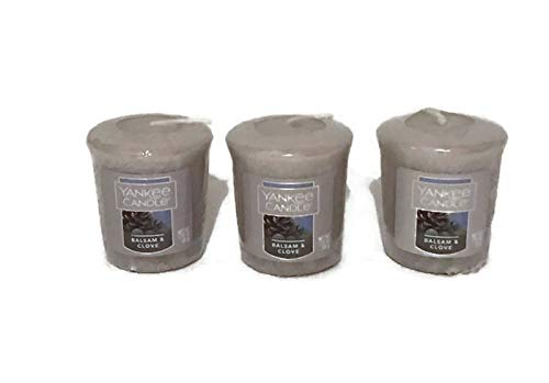 (Yankee Candle New Lot of 3 Balsam and Clove Sampler Votive Candles 1.75oz )