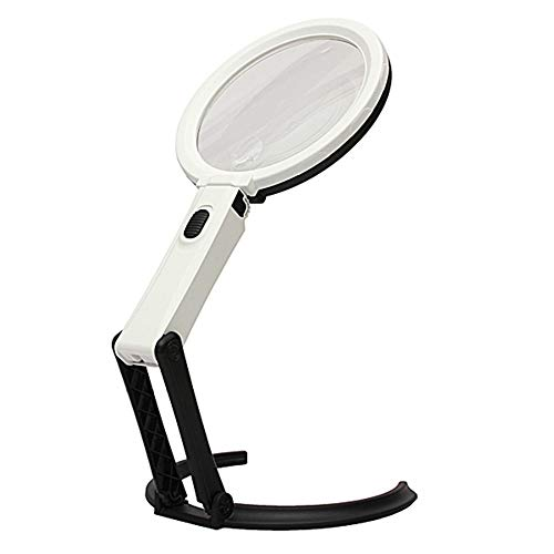 Folding Magnifier with LED Light External Power Supply Suitable for The Elderly Low Vision Read Check Map ()