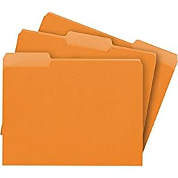 Staples Colored File Folders, Letter, 3 Tab, Orange, 100/Box