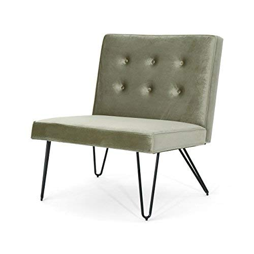 Christopher Knight Home 306101 DuSoleil Modern Armless Velvet Chair, Pistachio, Black Checkerboard - Funky Modern Chair