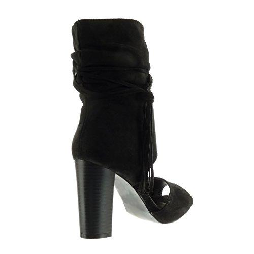 Angkorly - Zapatillas de Moda Botines Sandalias Peep-Toe abierto sexy mujer tanga fleco Talón Tacón ancho alto 9 CM - Negro