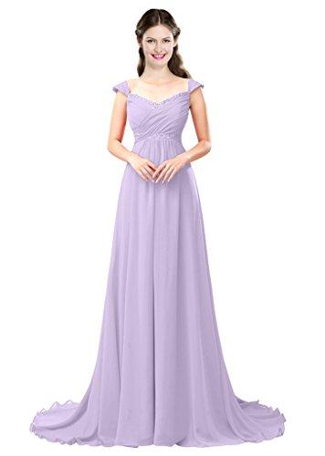 Da Bordatura Ballo Delle Linea Lungo Di E Donne Una Damigella Vestito Del 2016 Colore D'onore Chiffon Lavanda Abiti 7AqEwtxz