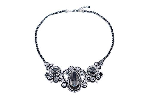 Soutache Bib Necklace with Rhinestones and Freshwater Pearls. Black White Silver Bead Embroidered Statement Necklace