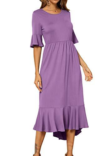 (levaca Women's Plain Casual Ruffles High Low Hem Swing Midi Dress Lightpurple L)