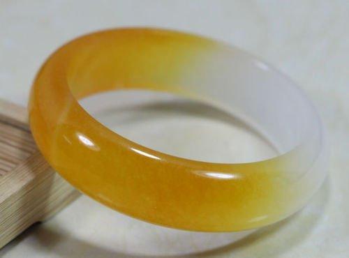 Chinese Natural Beautiful Yellow White Jade Jadeite Bangl...