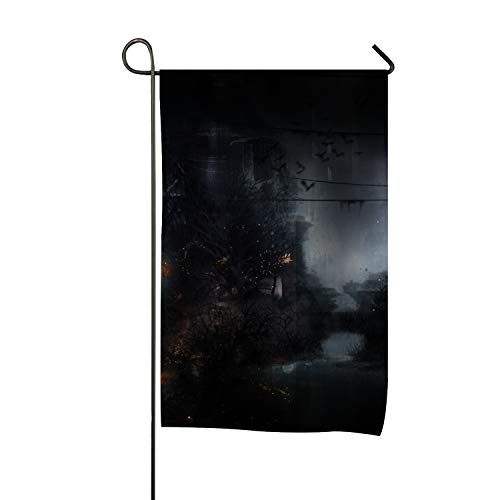 Otkftk Death and Crow Garden Flag Double Sided House Banner 28