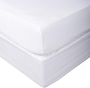 Sábana de algodón de 600hilos, algodón peinado 100 % natural puro, sábanas, natural, suave y sedoso tejido de satén de Victoria Bedding, 100% algodón, Bright White Solid, Super King Size Fitted Sheet