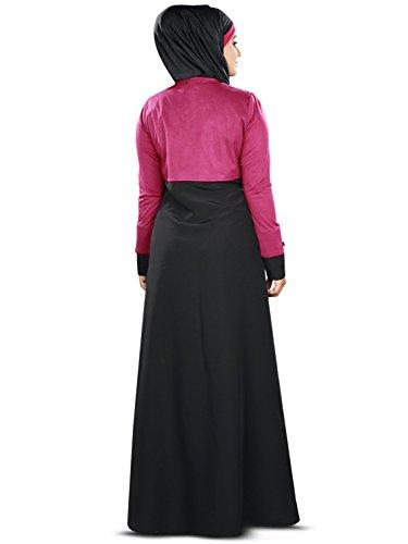 En Ay Negro Mujer Ropa Y Magenta 372 Musulmana Mybatua Abaya De Estilo Con 8xwH0tq