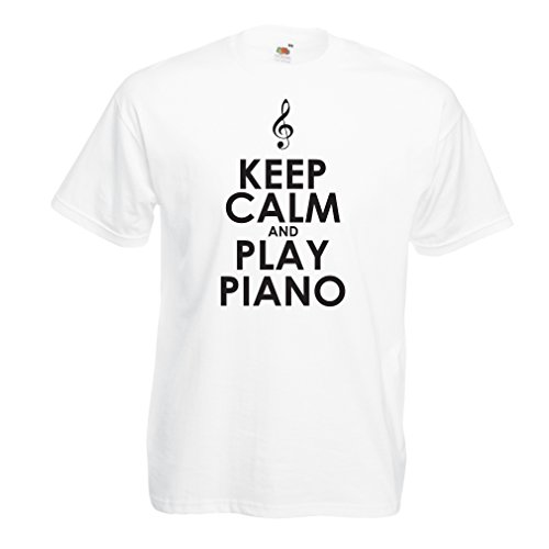 lepni.me T Shirts For Men Play Piano - Ain't Got No Wrong Notes (Small White Black) (Jefferson Old Vine)