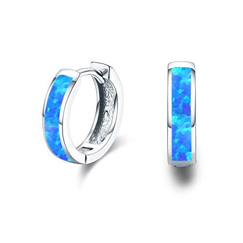 Small Hoop Earrings, Hinged Huggie Earrings Simulated Opal Blue Earrings Hypoallergenic Earrings for Sensitive Ears 925 Sterling Silver Earrings for Women Men Teen (Blue)