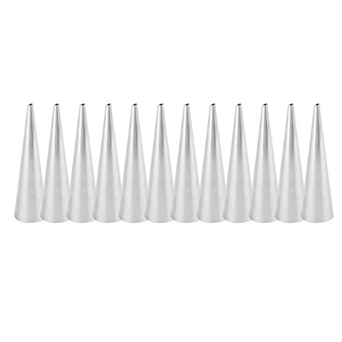 TiaoBug Cannoli Tubes, 12PCS Stainless Steel Cannoli Forms Pastry Molds Cone Pastry Roll Horn Mould for Croissant Shell Cream Roll Conical Shaped One Size