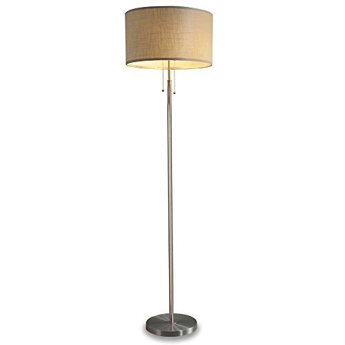 Dual Light Bulb Socket Floor Lamp with Pull Chain Switches, Contemporary Floor Standing Lamp for Living Room, Bedroom, Office, Reading, White Drum Fabric Shade and Brushed Nickel Metal Body