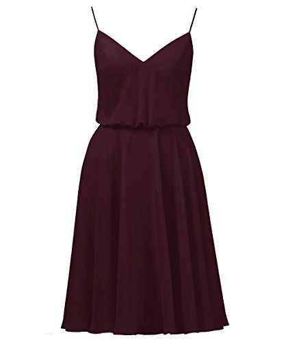 Vweil Women's Country Style Bridesmaid Dress Rustic Knee Length Chiffon Prom Evening Gowns Burgundy US12