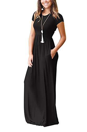 Long Plain with Black Charmer Dresses Short Sleeve Short Pockets Loose Casual LHS Maxi Sleeve Women Dresses S4wqHXnqz