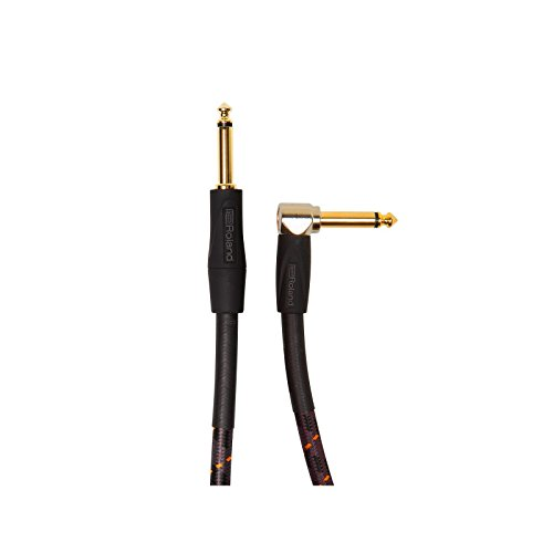 0 Inch Low Capacitance Woven Straight To Right Angle 1/4 Inch Jack Gold Plated Instrument Cable (Low Capacitance Wire)