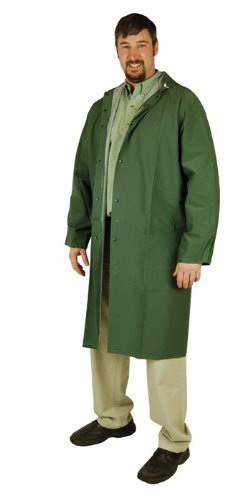 Heavy Duty Raincoat (Large) (PVC Coated Polyester) 60-inch by Hooded Raincoat