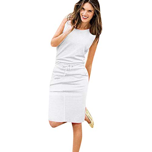 (Muchy Women Knee Dresses for Clearence O-Neck Sleeveless Solid Dress Casual Slim Beachwear Dress Party Dress (XL, White))