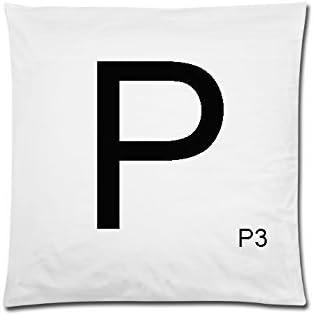 40 cm x40 cm diseño de letras de Scrabble blanco funda de cojín de letra P con números: Amazon.es: Hogar