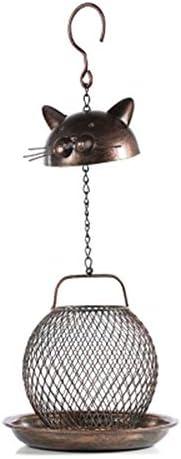バードフィーダー 中庭の小屋の容易なクリーニングの結め換え品の鳥の送り装置のかわいい猫の形の金属の鳥の送り装置の家のための掛かる装飾の鳥のテーブルの自由な地位 (色 : 真鍮, サイズ : Free size)
