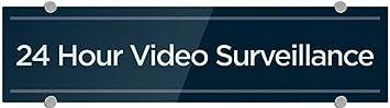 24x6 24 Hour Video Surveillance CGSignLab Basic Navy Premium Brushed Aluminum Sign 5-Pack