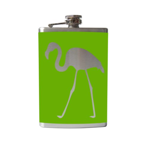 Flamingo Flask-6, 8 Ounce - Custom, Personalized- Many Colors (8 Ounce, Lime Green - Matte)