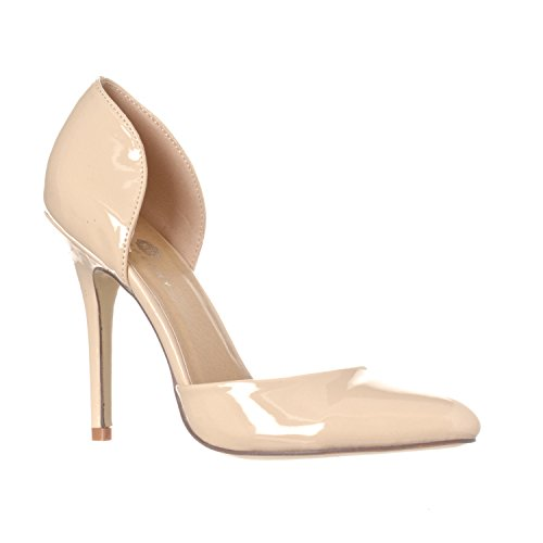 Riverberry Women's Nora Pointed Toe Slip On D'Orsay Pump Heels, Nude Patent, 6
