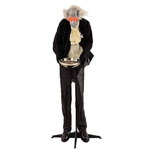 Halloween Haunters Animated Standing 6 Foot Scary Crazy Old Butler Man with Moving Head and Light-Up Eyes Decoration - Dressed in Black with Skeleton Hands & Serving Plate - Battery