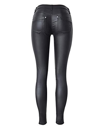 Cintura PU Leggings de Pantalones Vaqueros Lápiz Baja Cuero Pantalon Skinny Elásticos Mujer Moto de Negro Iwgzxq