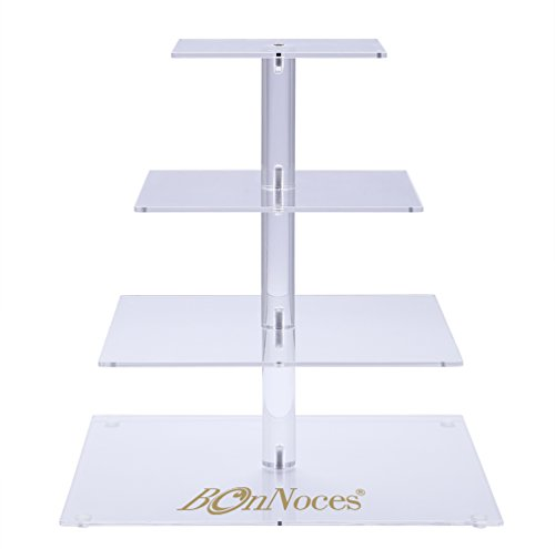 BonNoces 4 Tier Acrylic Glass Square Cupcake Stand - Tiered Cake Stand - Clear Stacked Party Cupcake Tree - Dessert Display Holders - Cupcake Tower For Wedding, Happy (Wedding Cake Stands For Sale)
